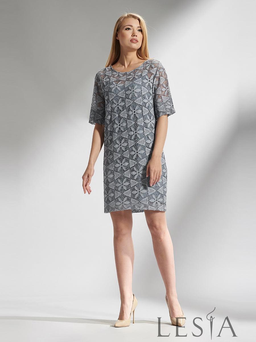Платье серое в принт | 5116096