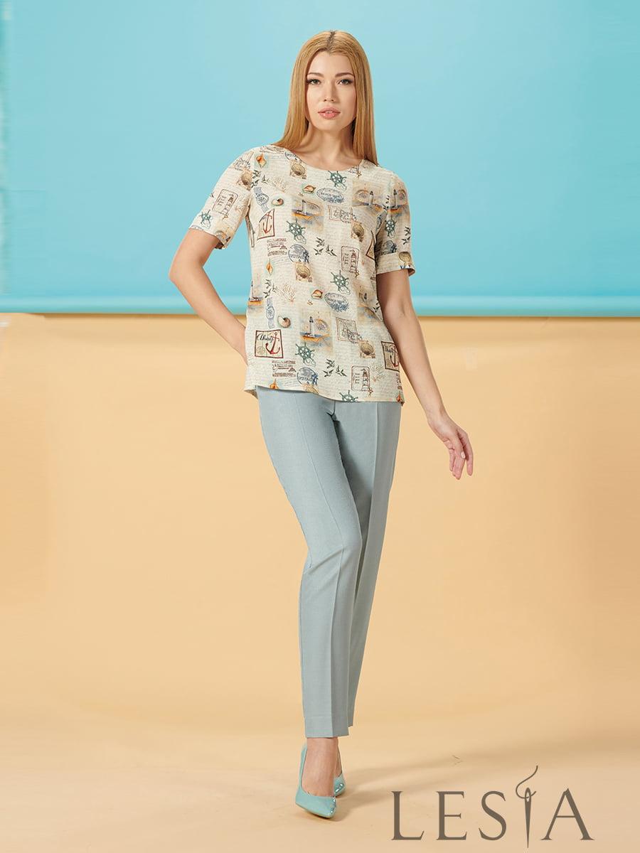 Блуза молочного цвета в принт | 5306084