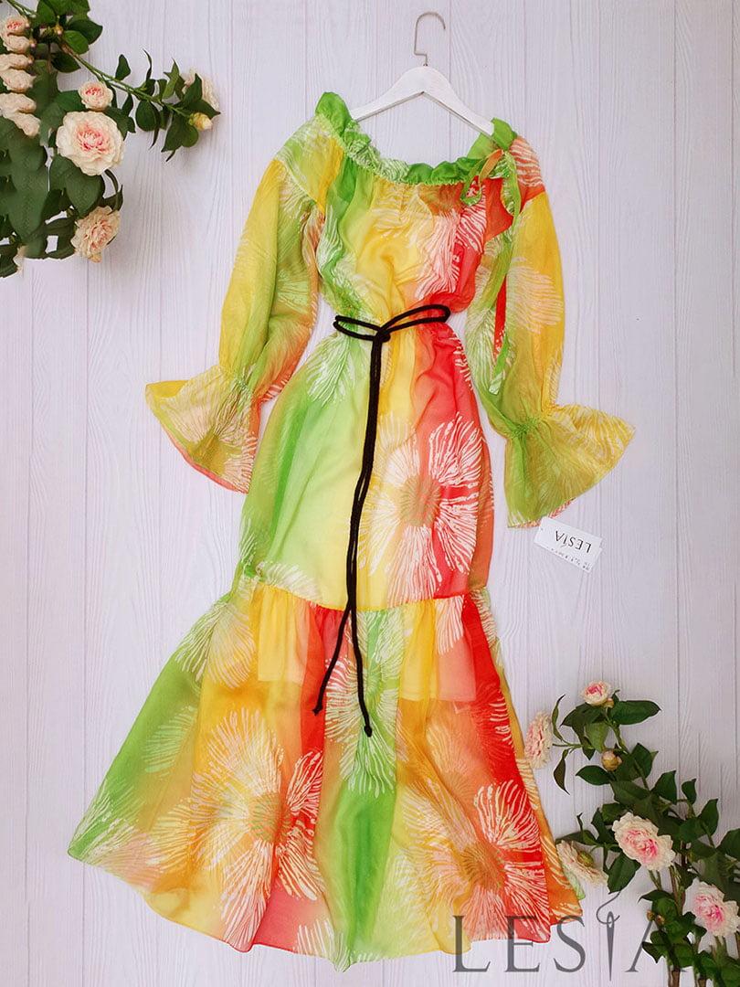 Платье разноцветное в принт | 5508749