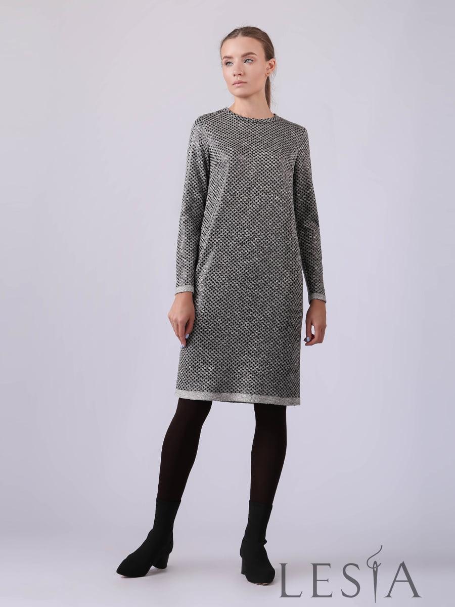 Платье серое в принт | 5593398
