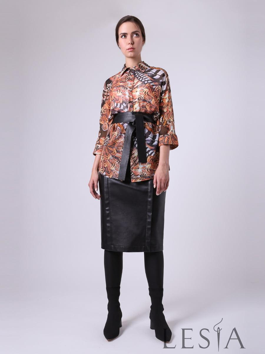 Блуза коричневая в принт | 5661816
