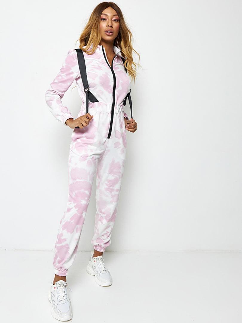 Комбінезон біло-рожевого кольору в розмитий принт   5671501
