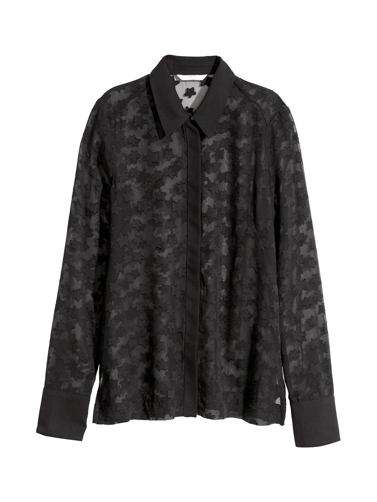 Рубашка черная в принт | 5667255