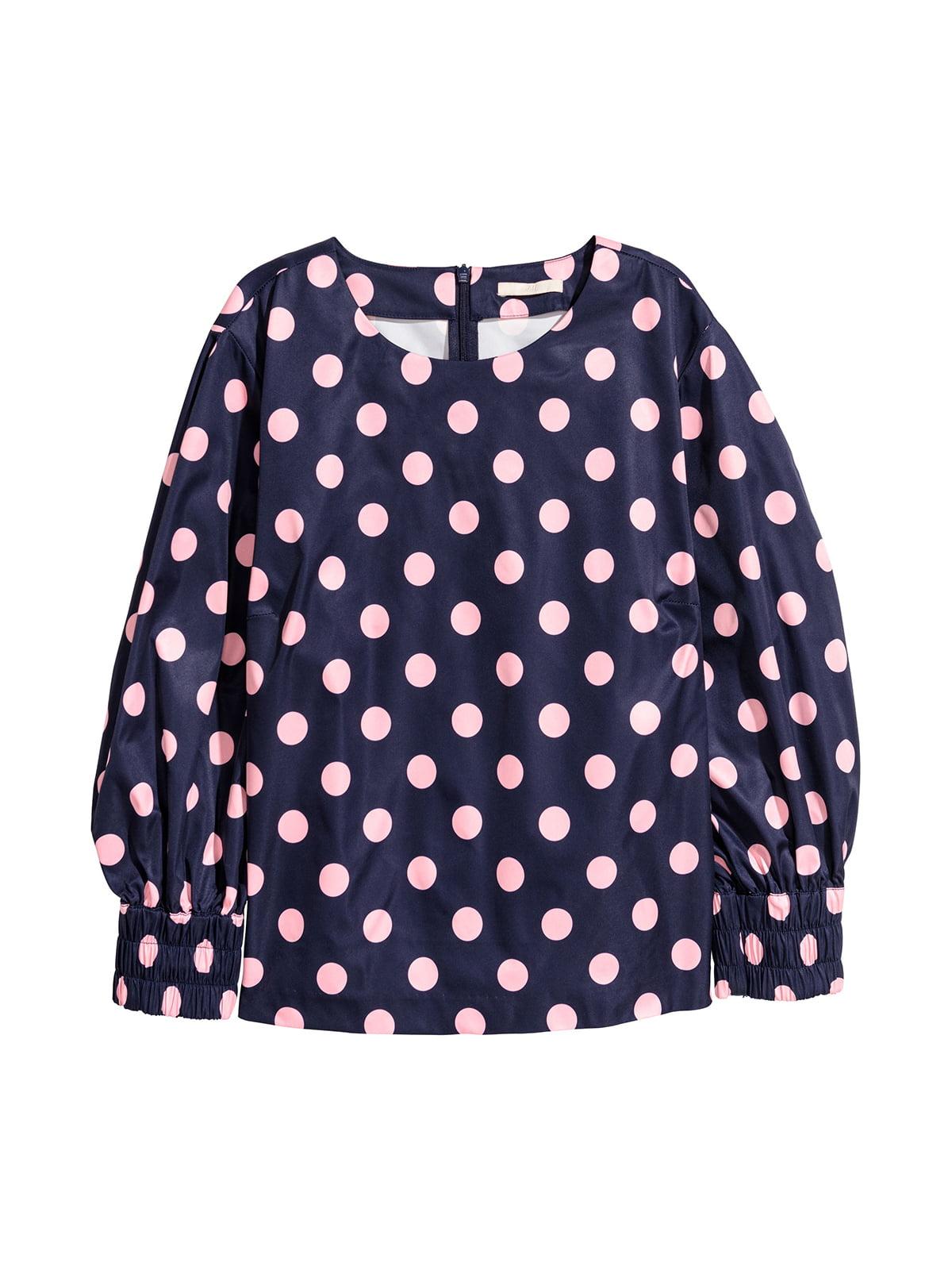 Блуза темно-синяя в горошек | 5667318
