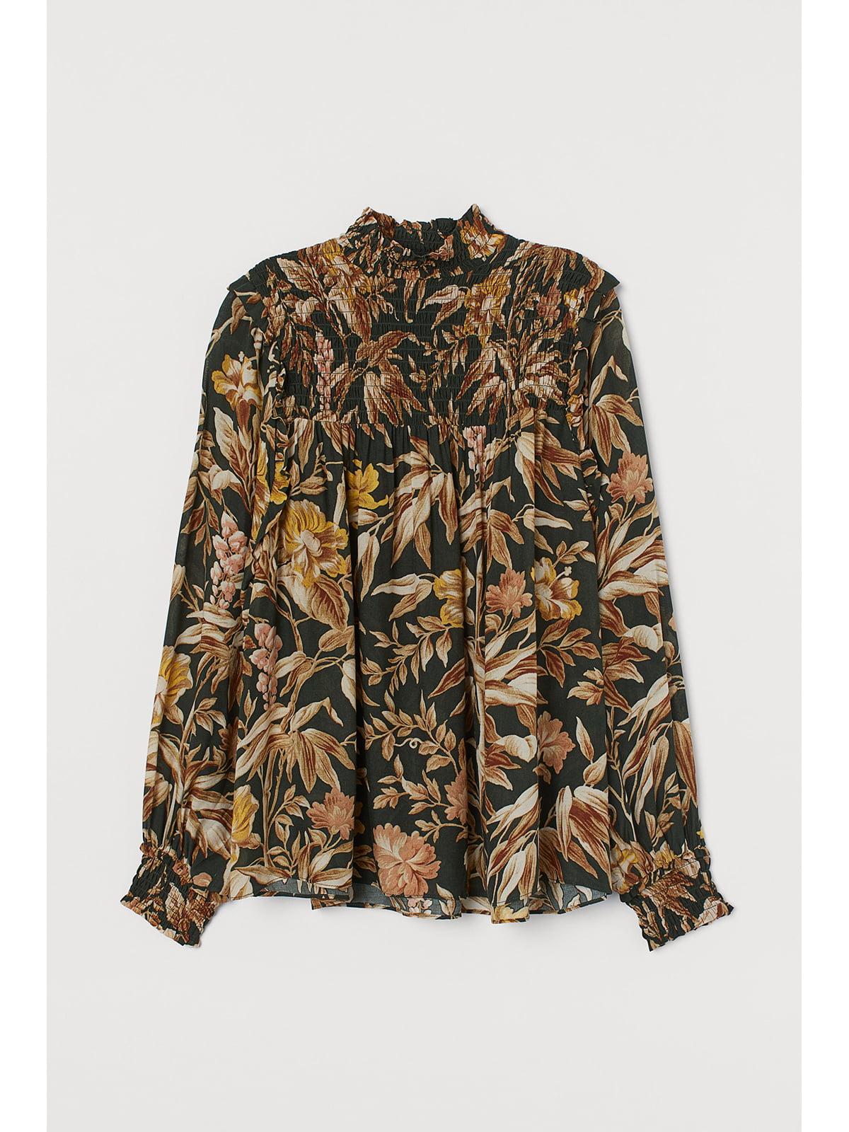 Блуза темно-зеленая в принт | 5667519