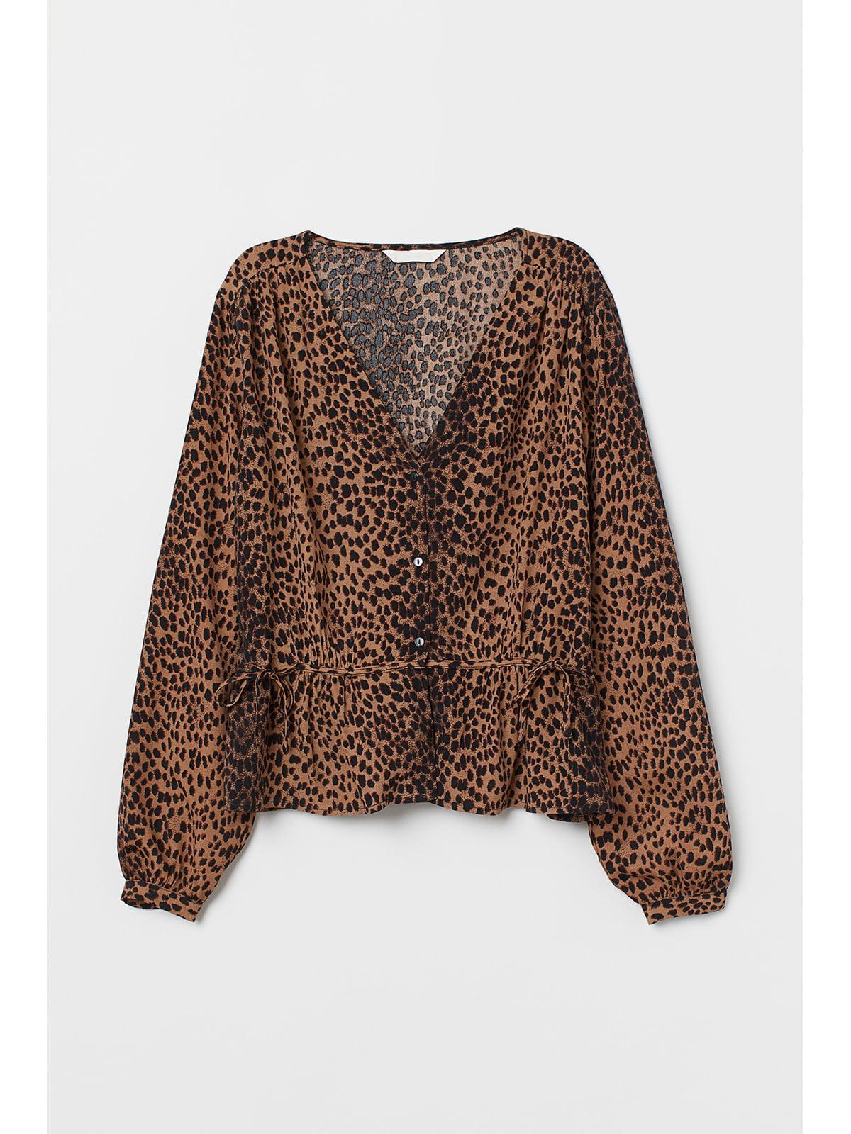 Блуза коричневая в принт | 5667529