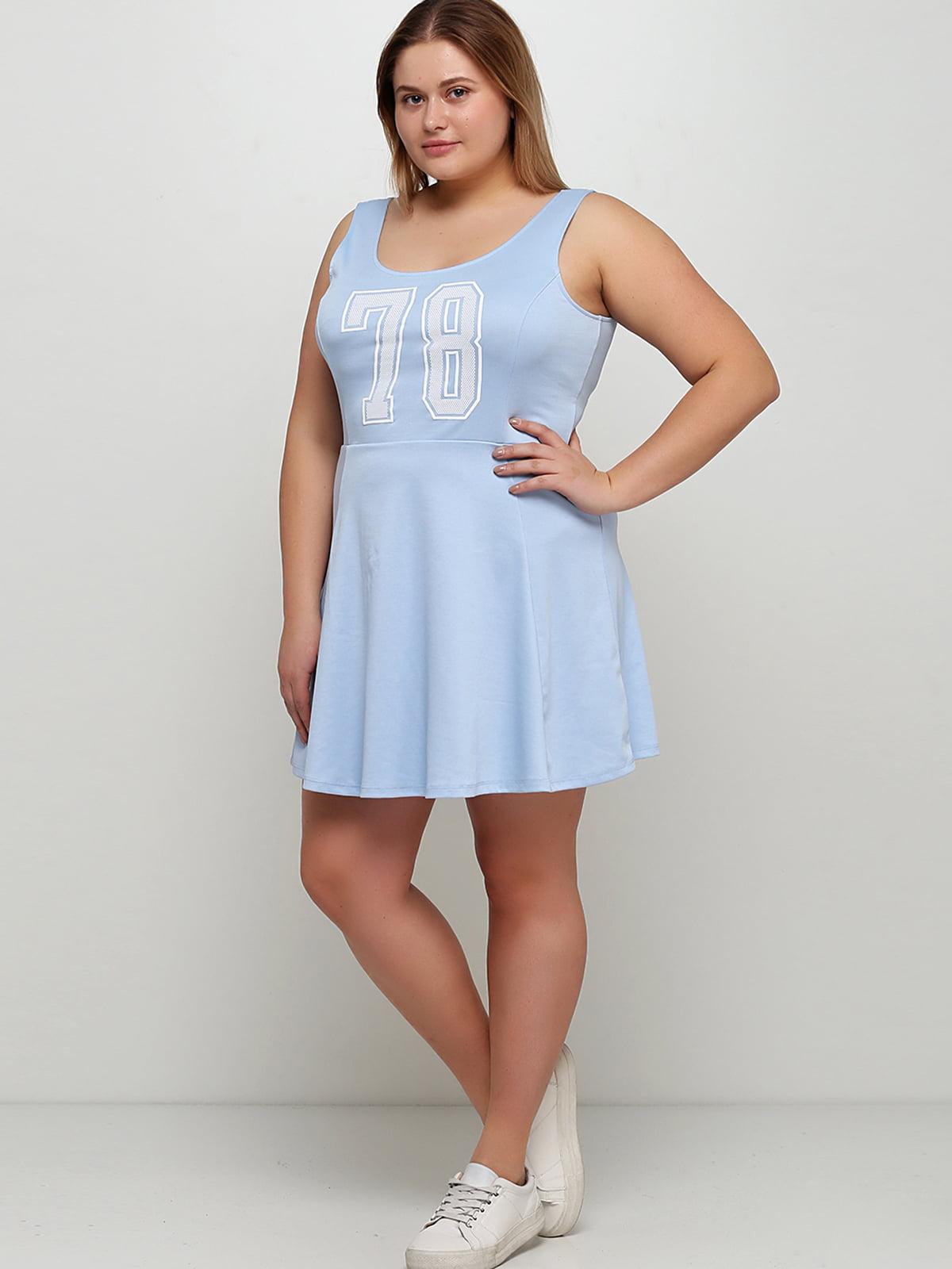 Сукня блакитна з принтом | 5632541
