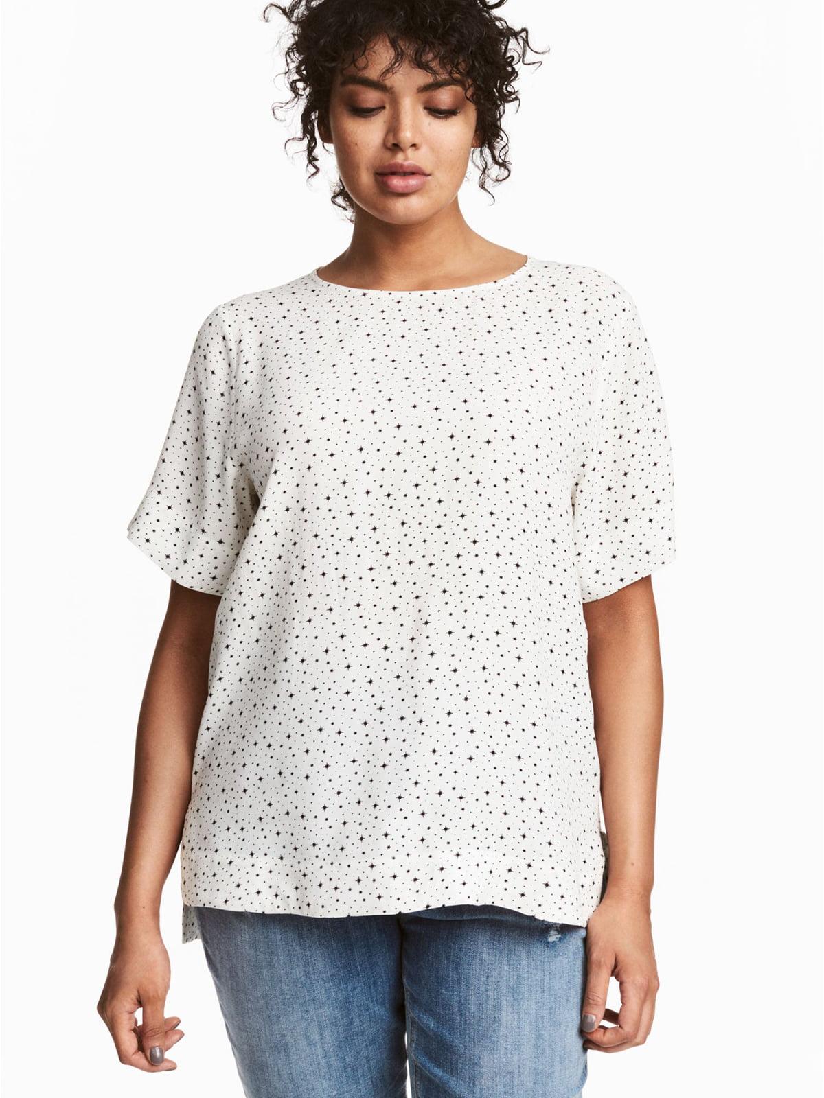 Блуза біла з принтом | 5677121