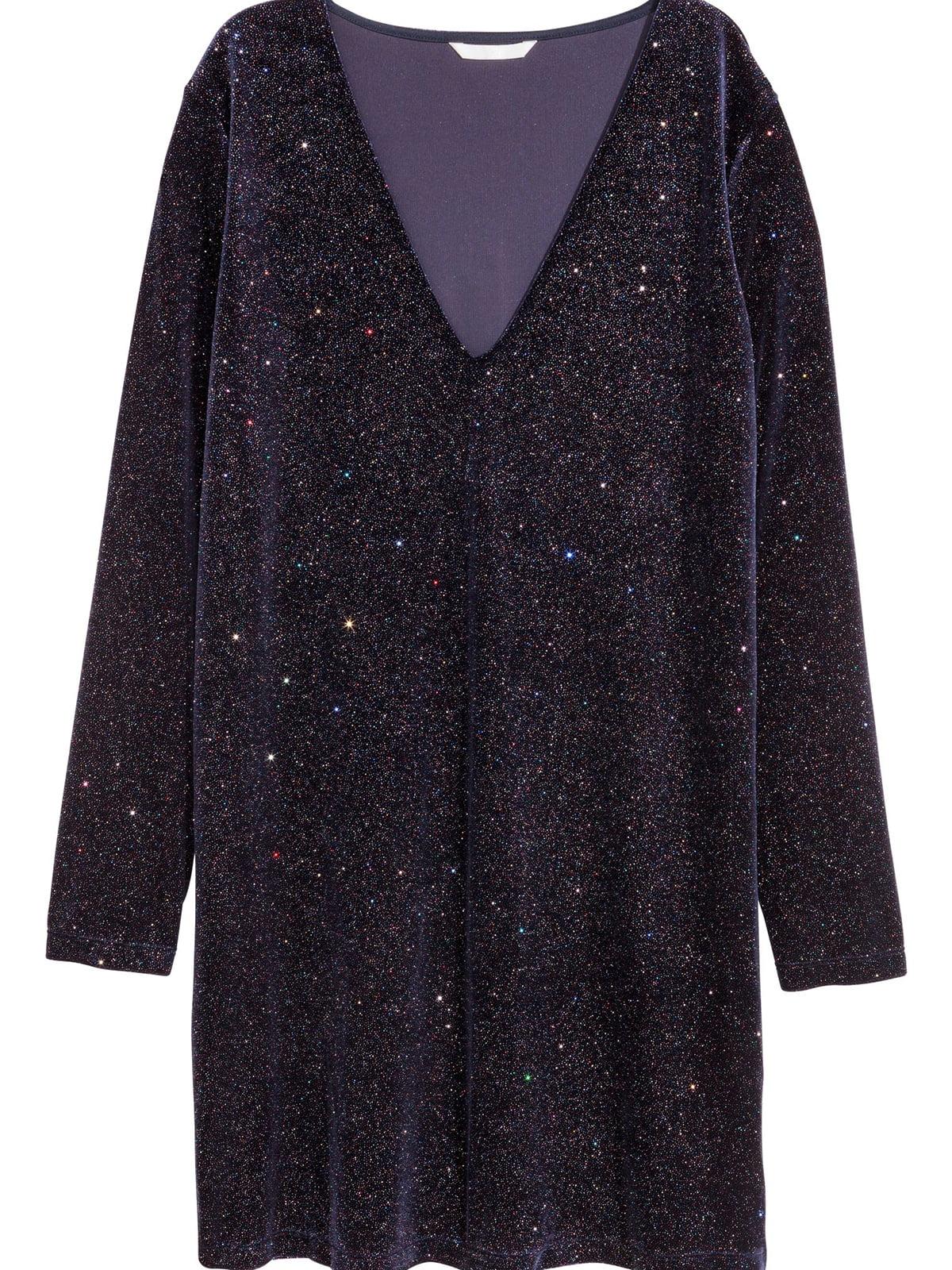 Платье темно-синее с блестками | 5677355
