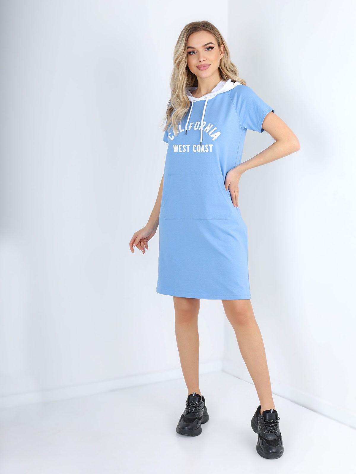 Платье голубое с принтом | 5678348