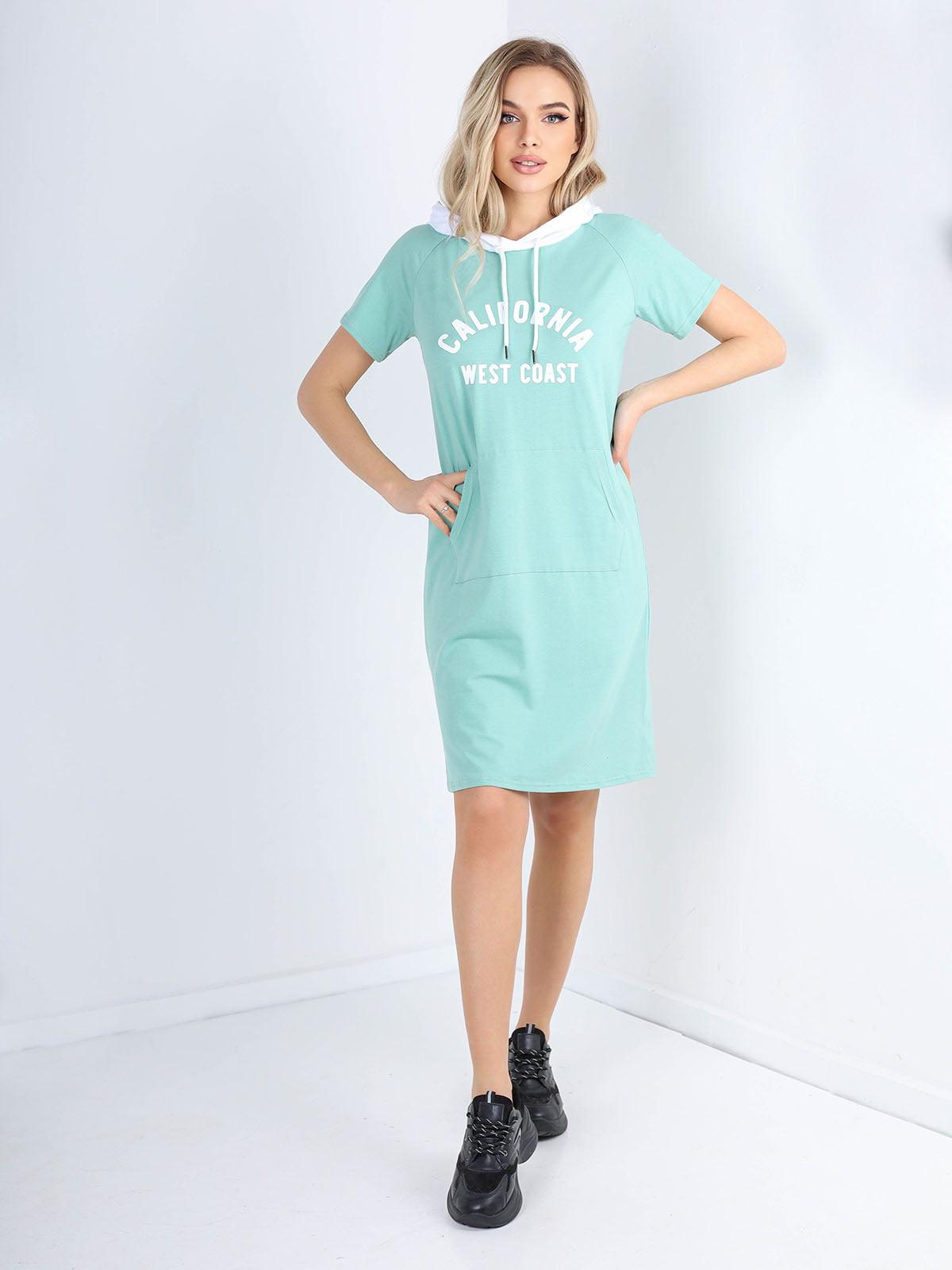 Платье зеленое с принтом | 5678349