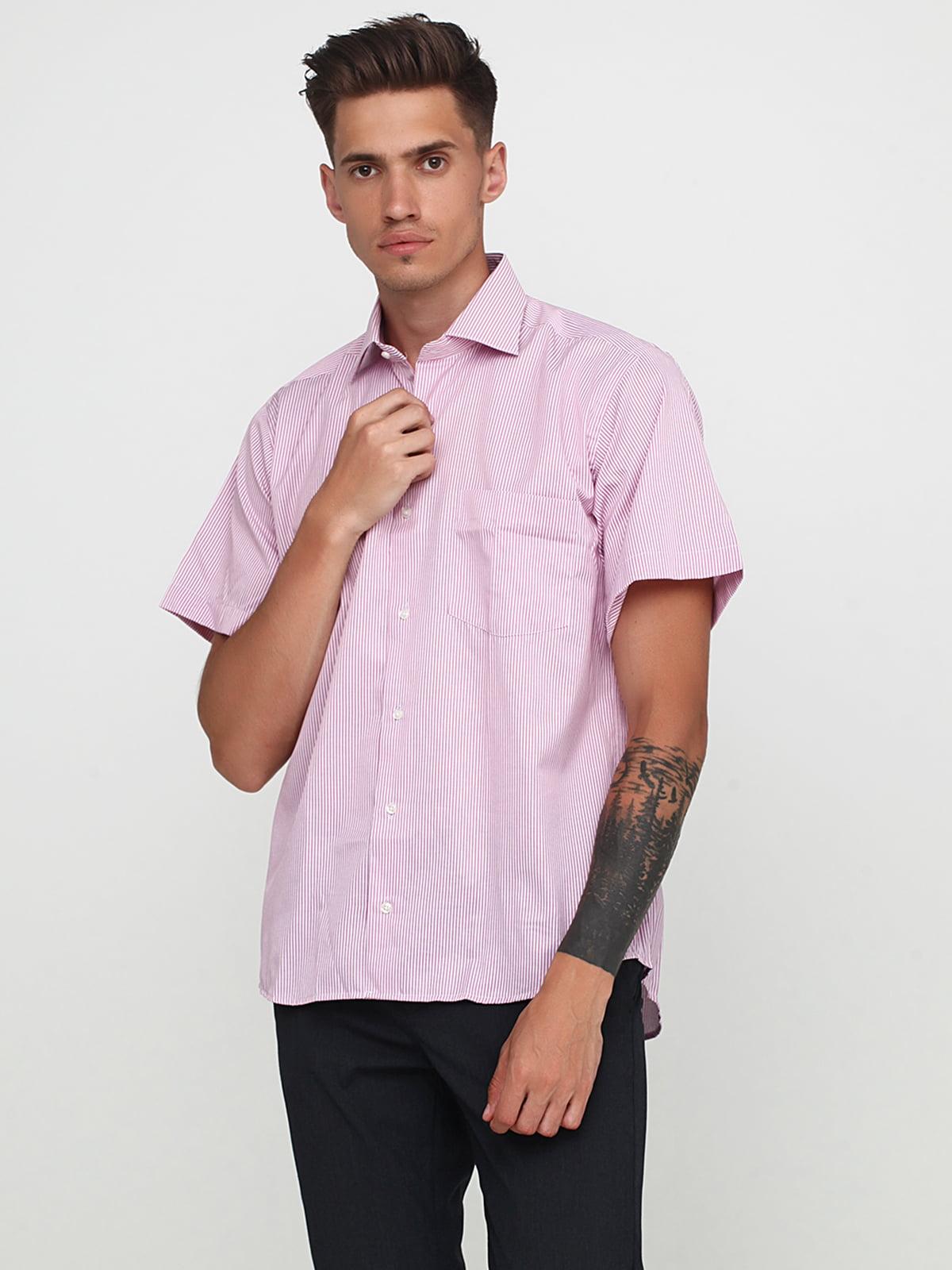 Сорочка рожевого кольору в смужку | 5679934