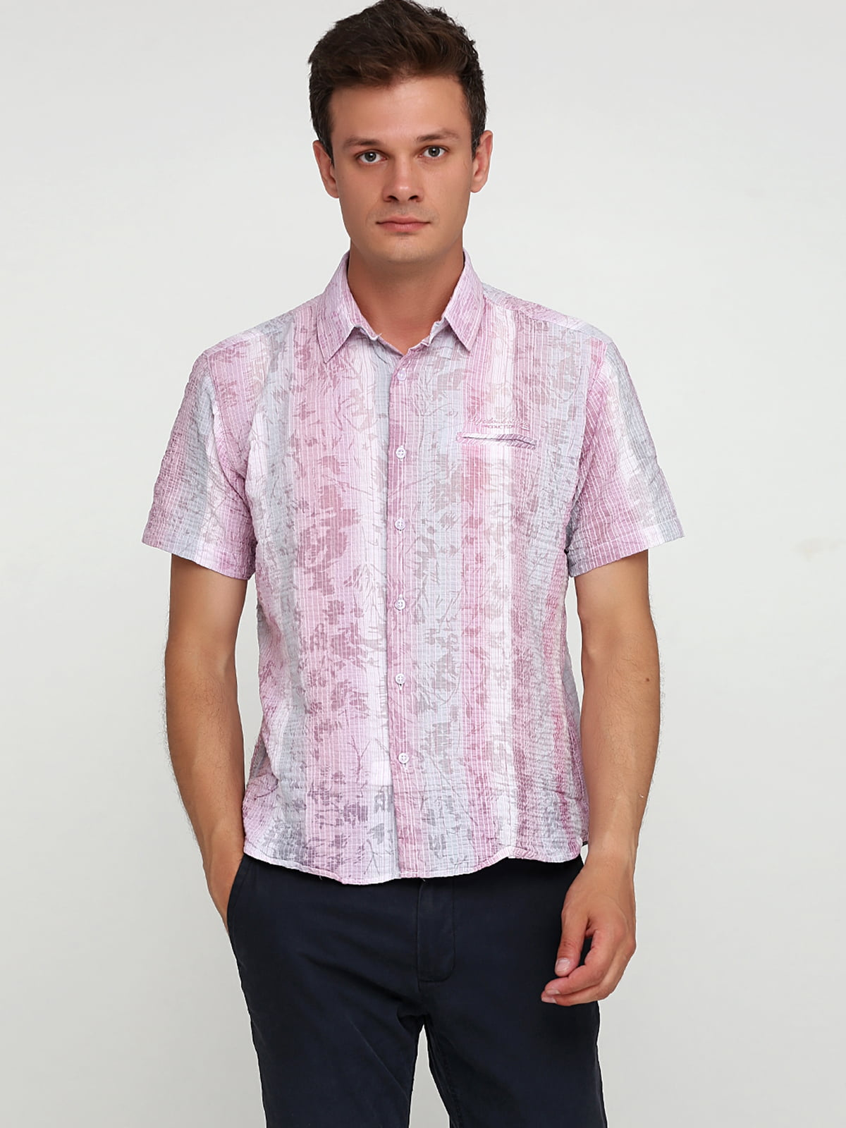 Сорочка сіро-рожевого кольору в принт | 5679930