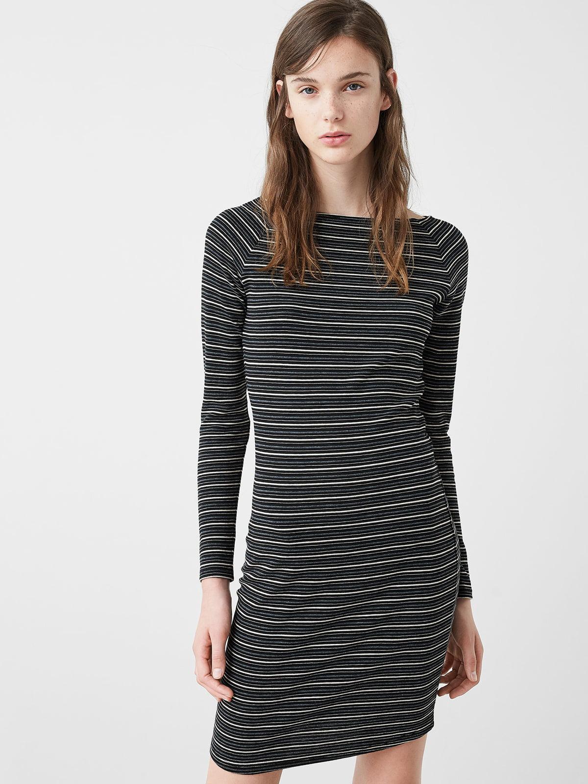 Платье серое в полоску | 5234501