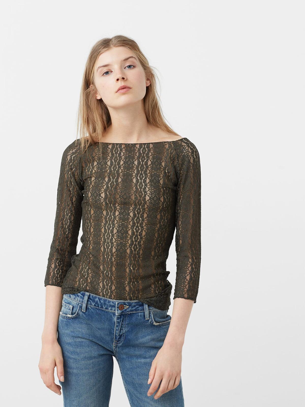 Блуза кольору хакі   5234524