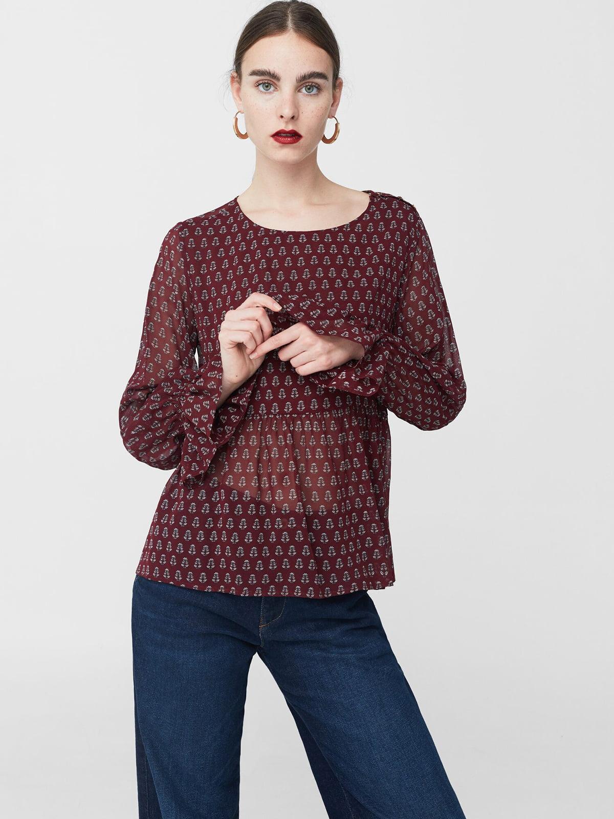 Блуза цвета бургунди с принтом | 5669316
