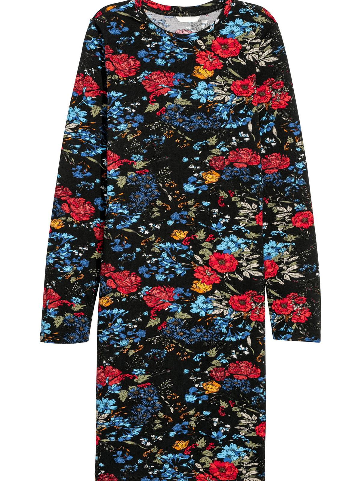 Платье черное с цветочным принтом | 5680117