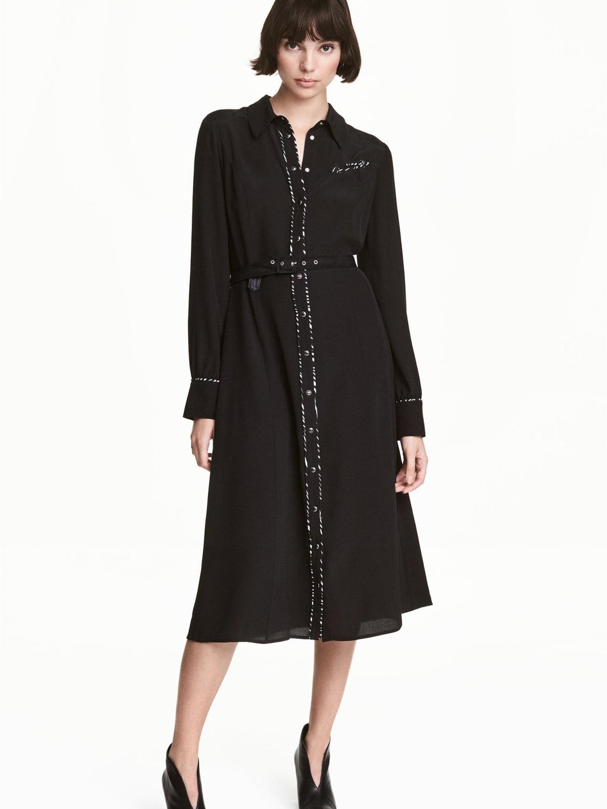 Платье-рубашка черное | 5680291