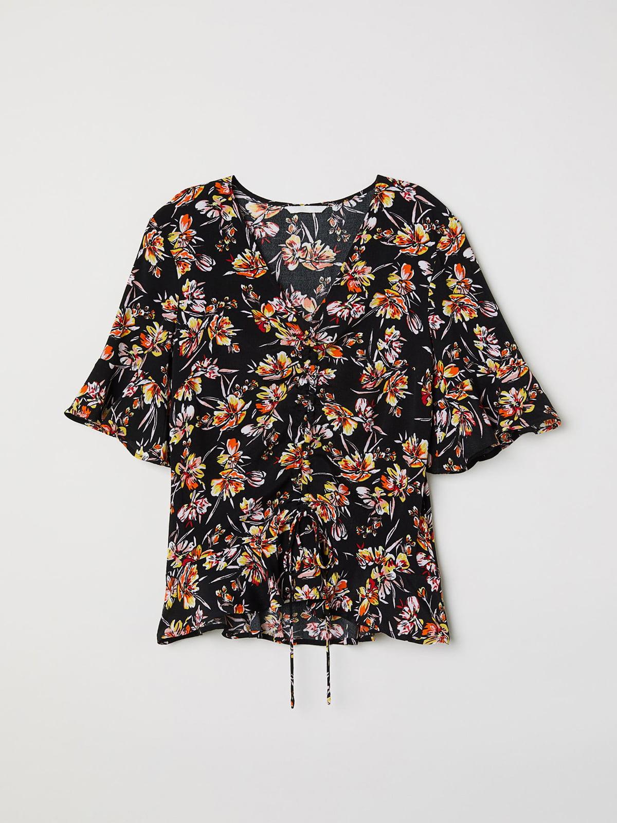 Блуза черная с цветочным принтом | 5680355