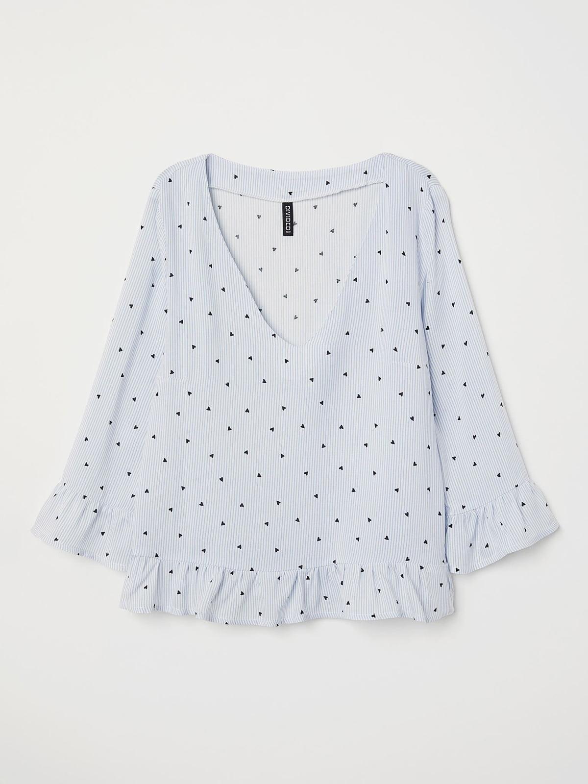 Блуза голубая в полоску с принтом | 5680445