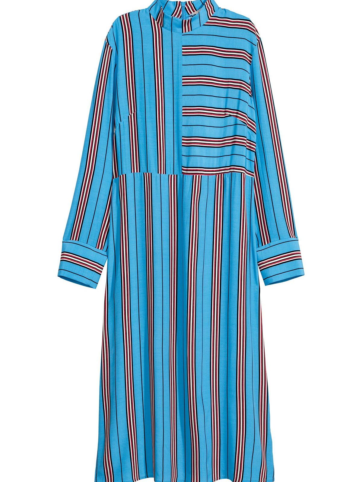 Платье голубое в полоску | 5680736