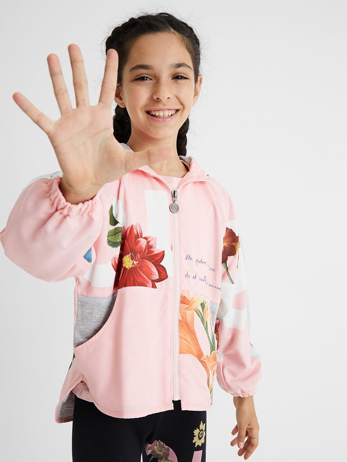 Куртка розовая в цветочный принт | 5686232