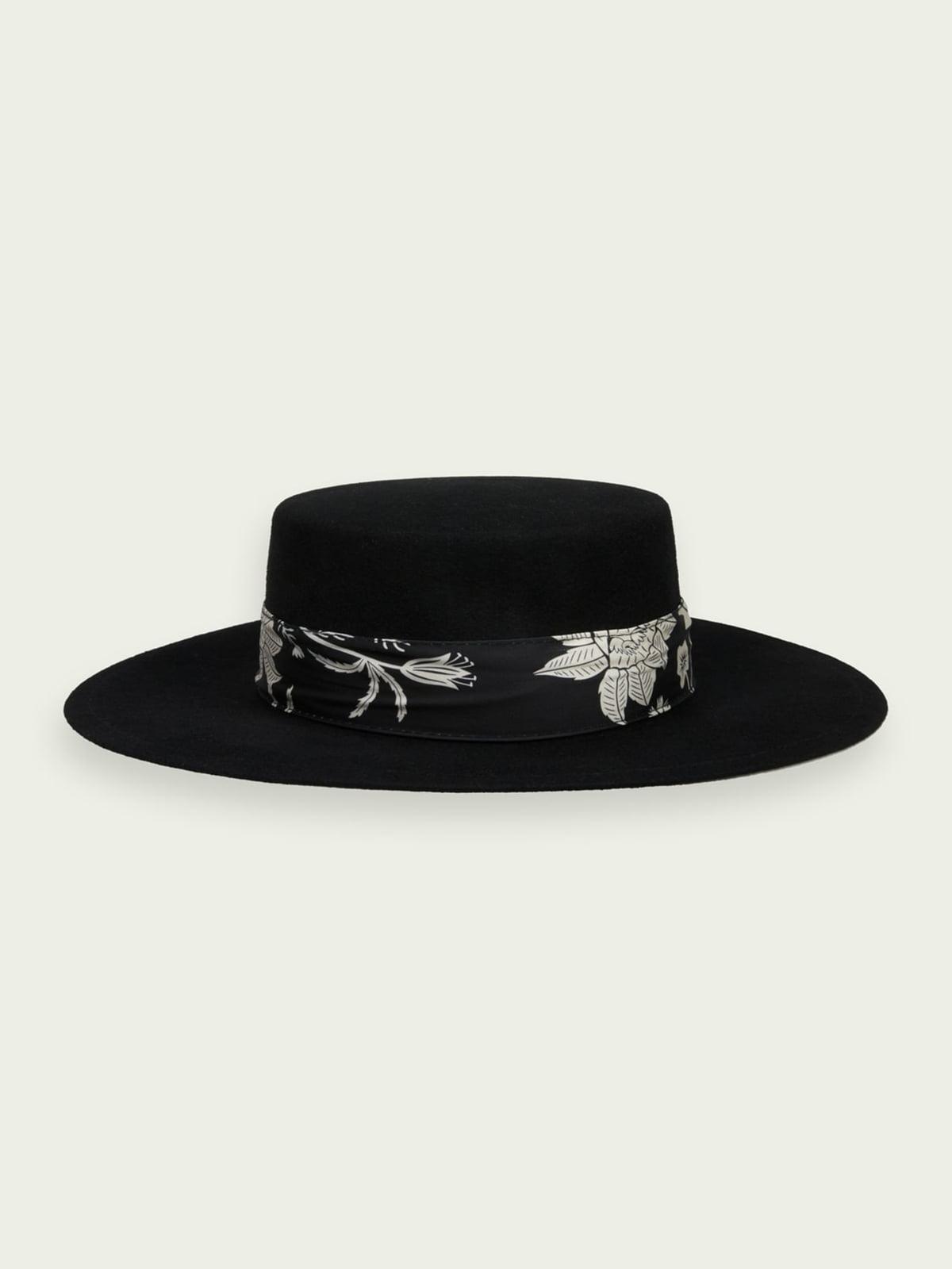 Шляпа черная с цветочным принтом | 5687537