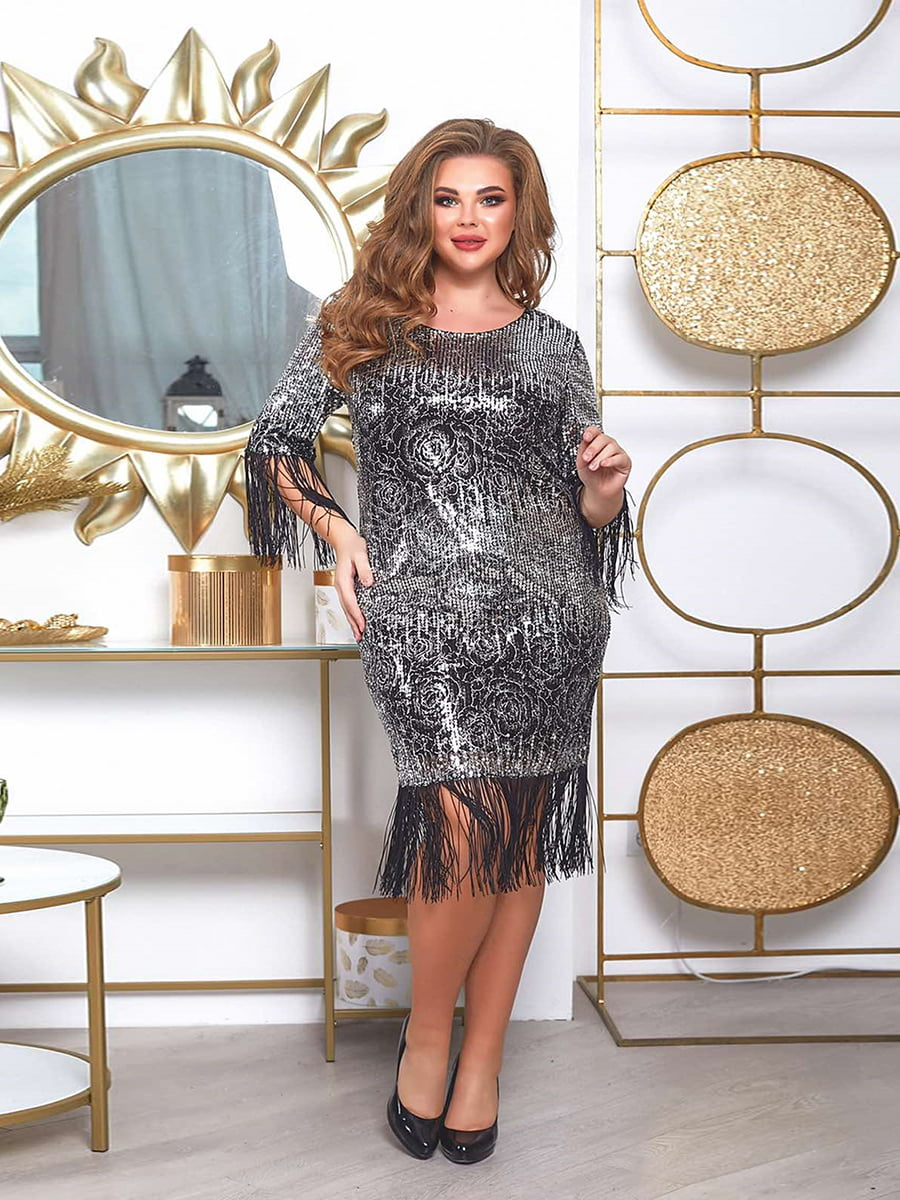 Платье серебристого цвета в принт | 5691026