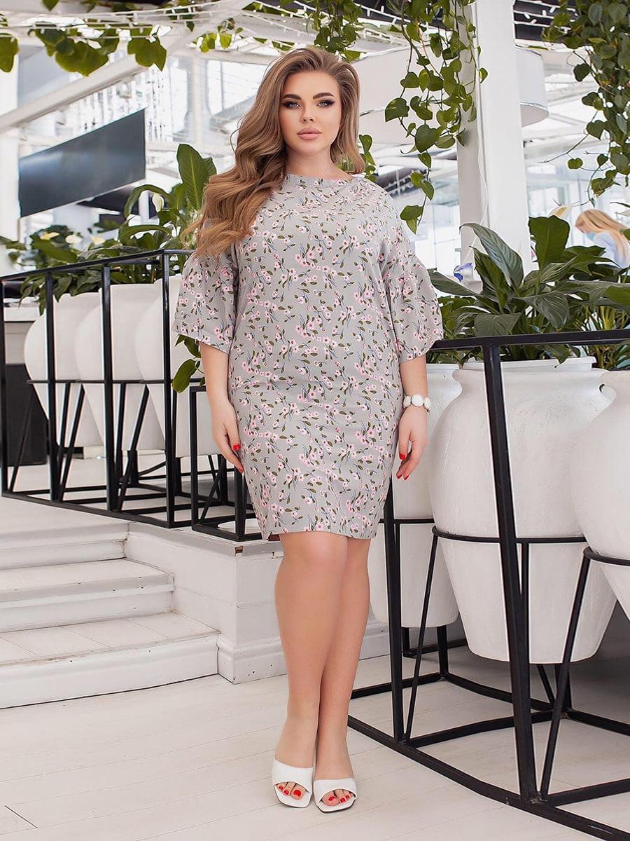 Сукня сіра в квітковий принт   5691035