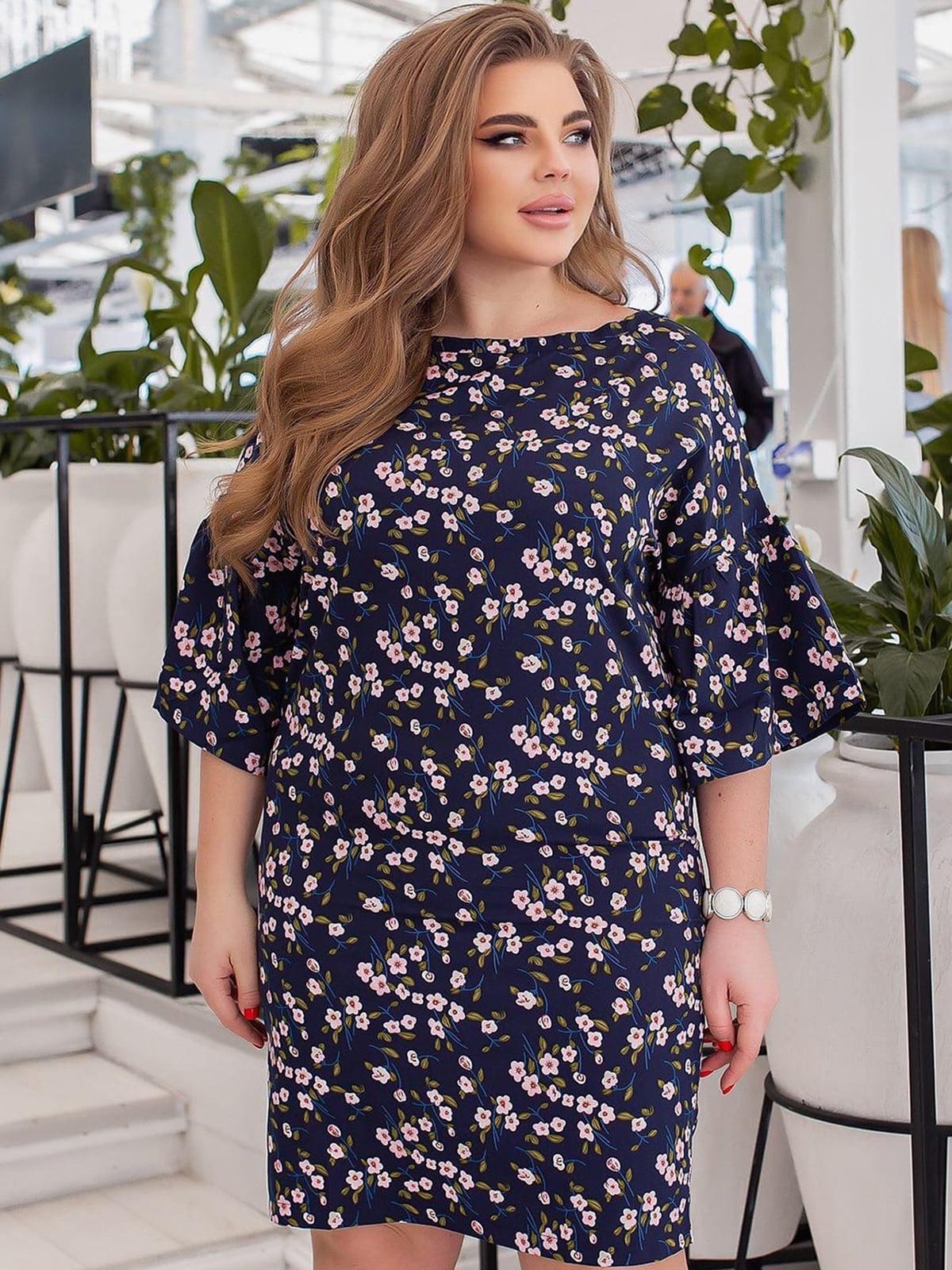 Платье синее в цветочный принт | 5691036
