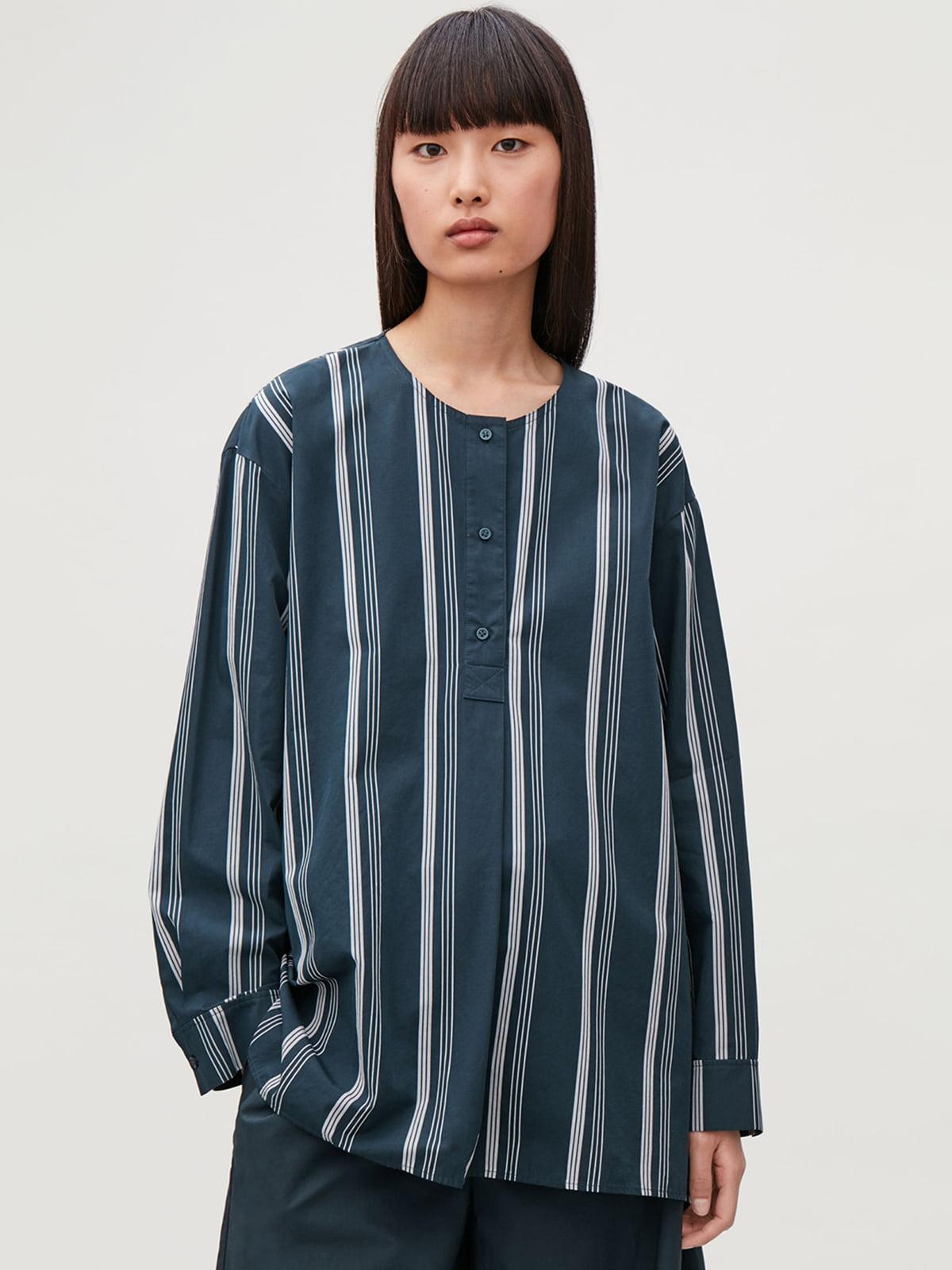 Блуза синяя в полоску | 5680326