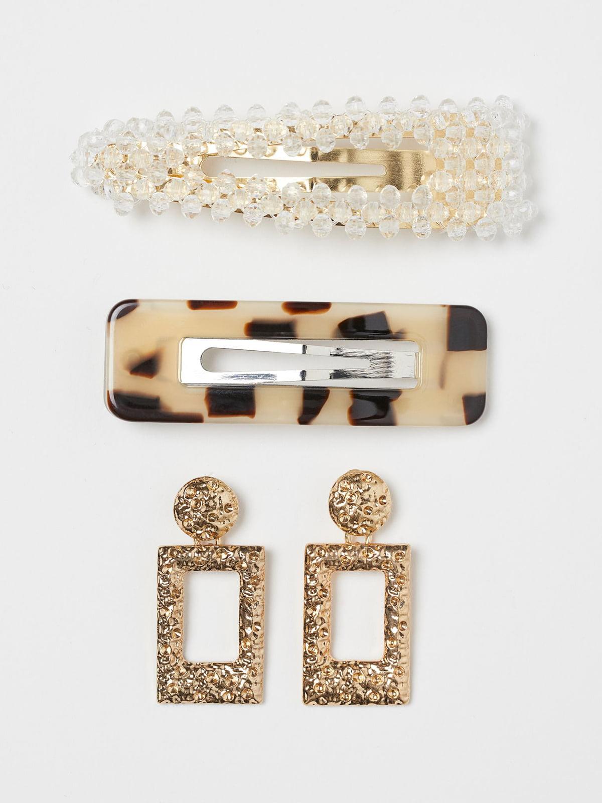 Комплект: заколки — 2 шт., сережки | 5692572