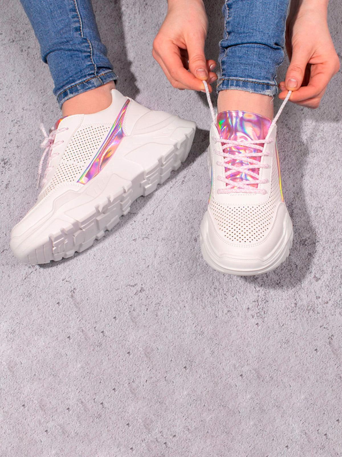 Кросівки біло-рожеві | 5643212