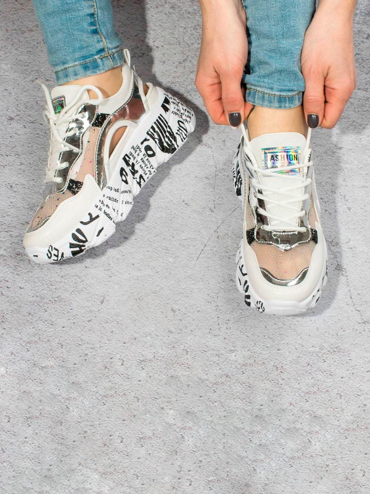 Кроссовки бело-серебристые | 5643312