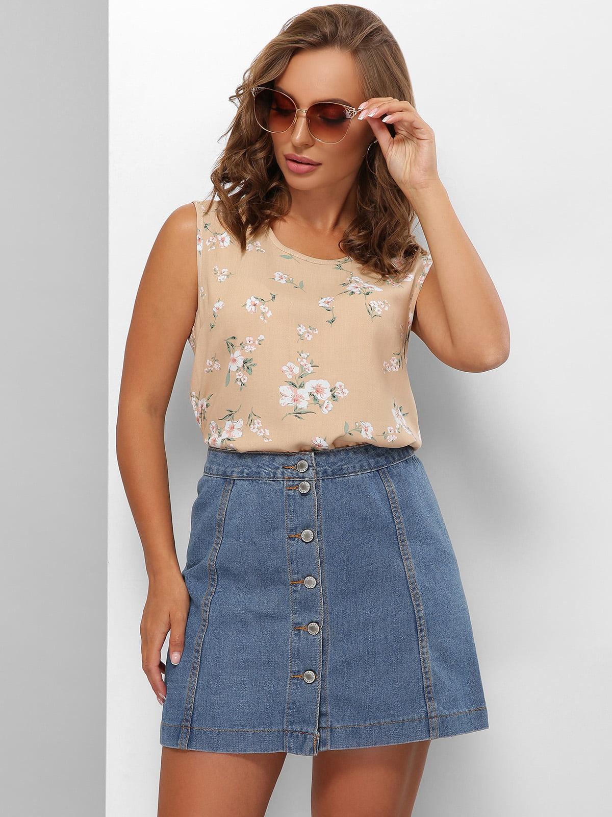 Блуза бежевого кольору з квітковим принтом | 5694968