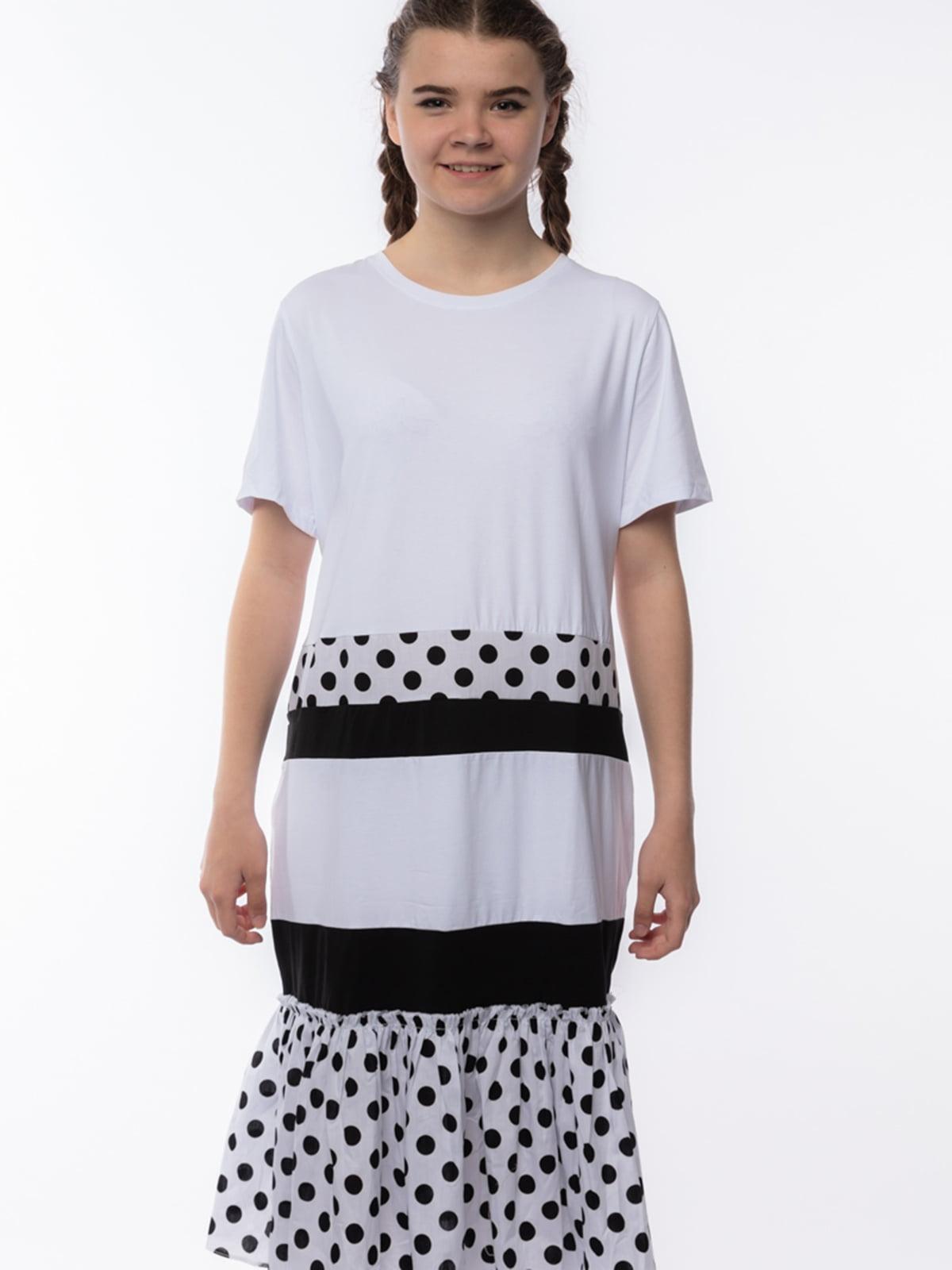 Платье белое в горошек | 5690689