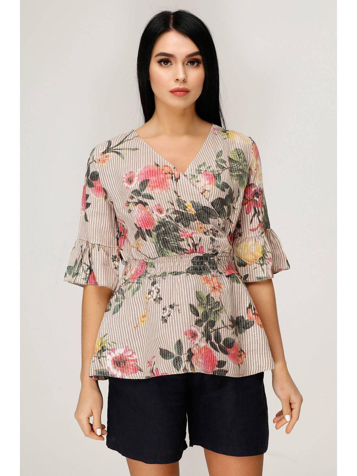 Блуза розовая с цветочным принтом   5699698