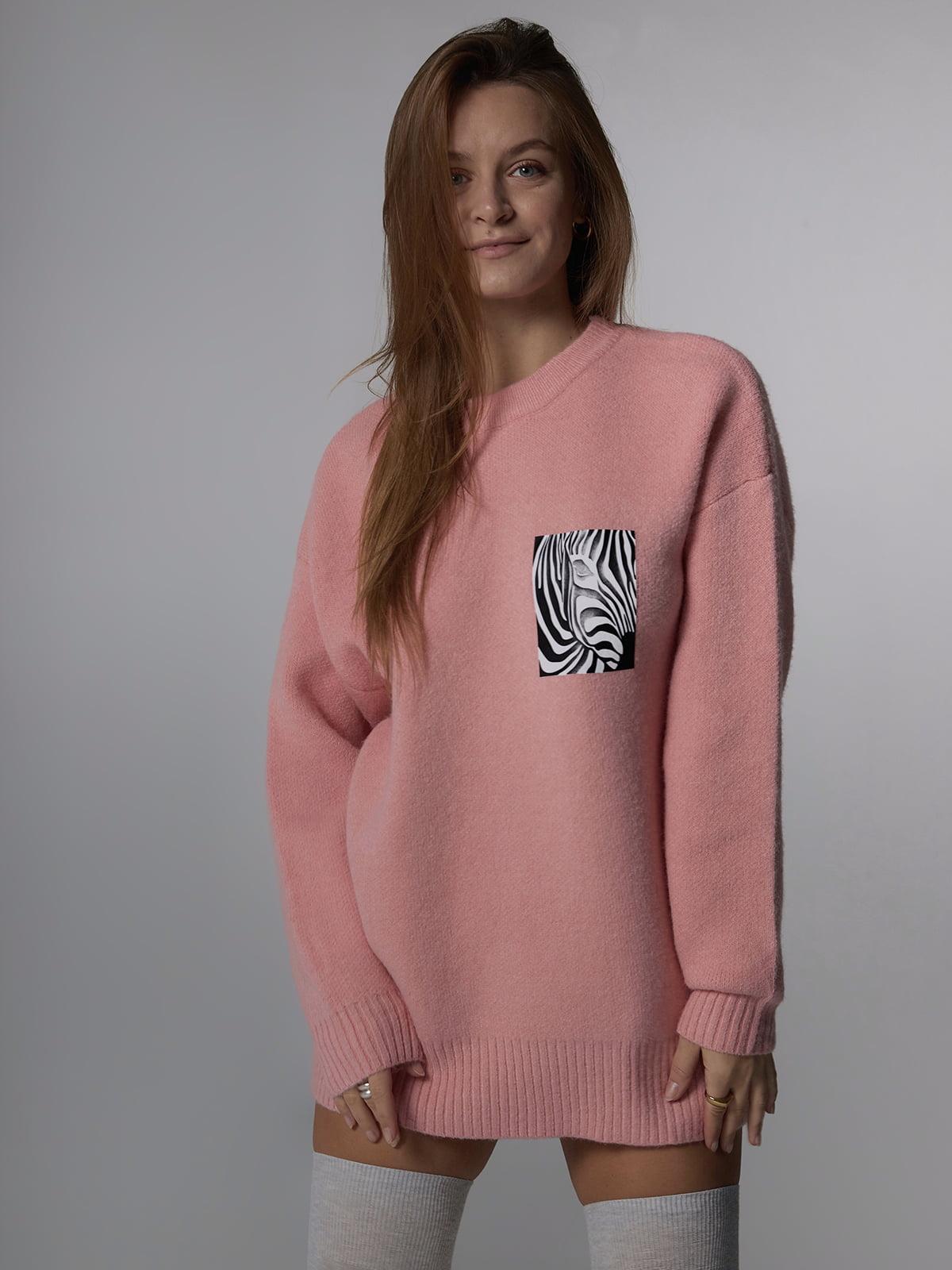 Джемпер рожевого кольору з анімалістичним принтом | 5701497