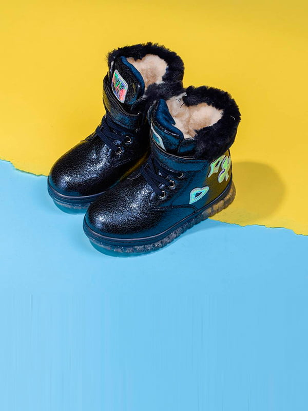 Ботинки синие с декором   5648062