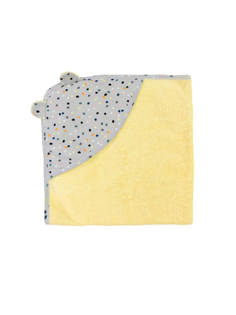 Рушник сіро-лимонного кольору з принтом | 5701913