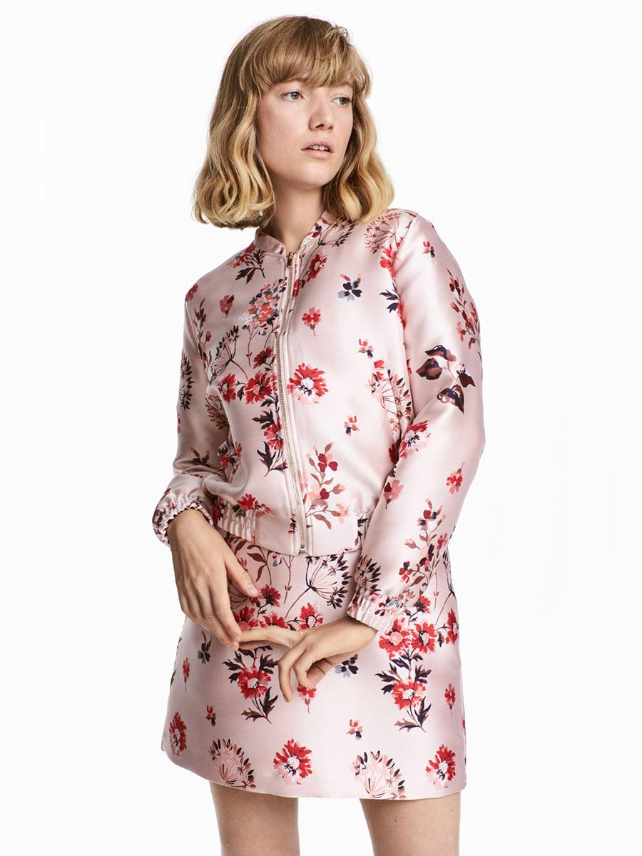 Куртка рожева в принт | 5704651