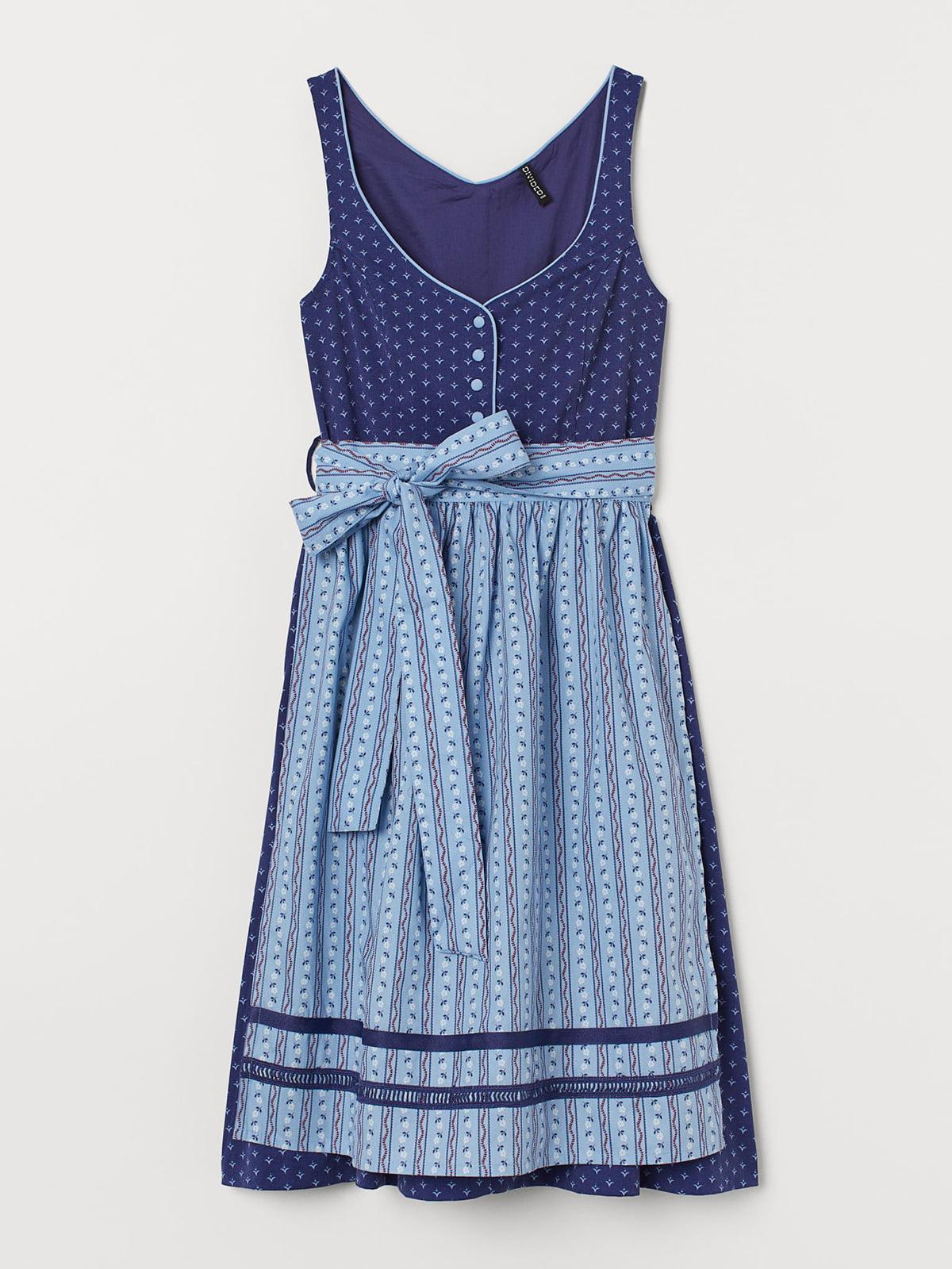 Платье синее с узором | 5704754