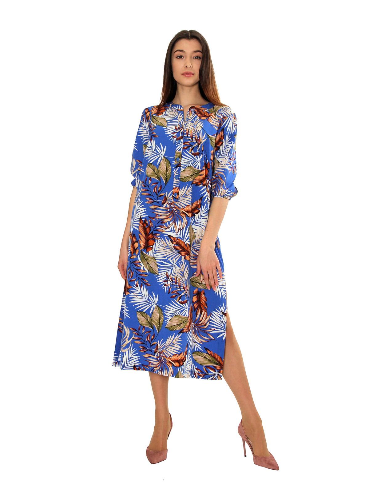 Платье бирюзовое с растительным принтом | 5525426