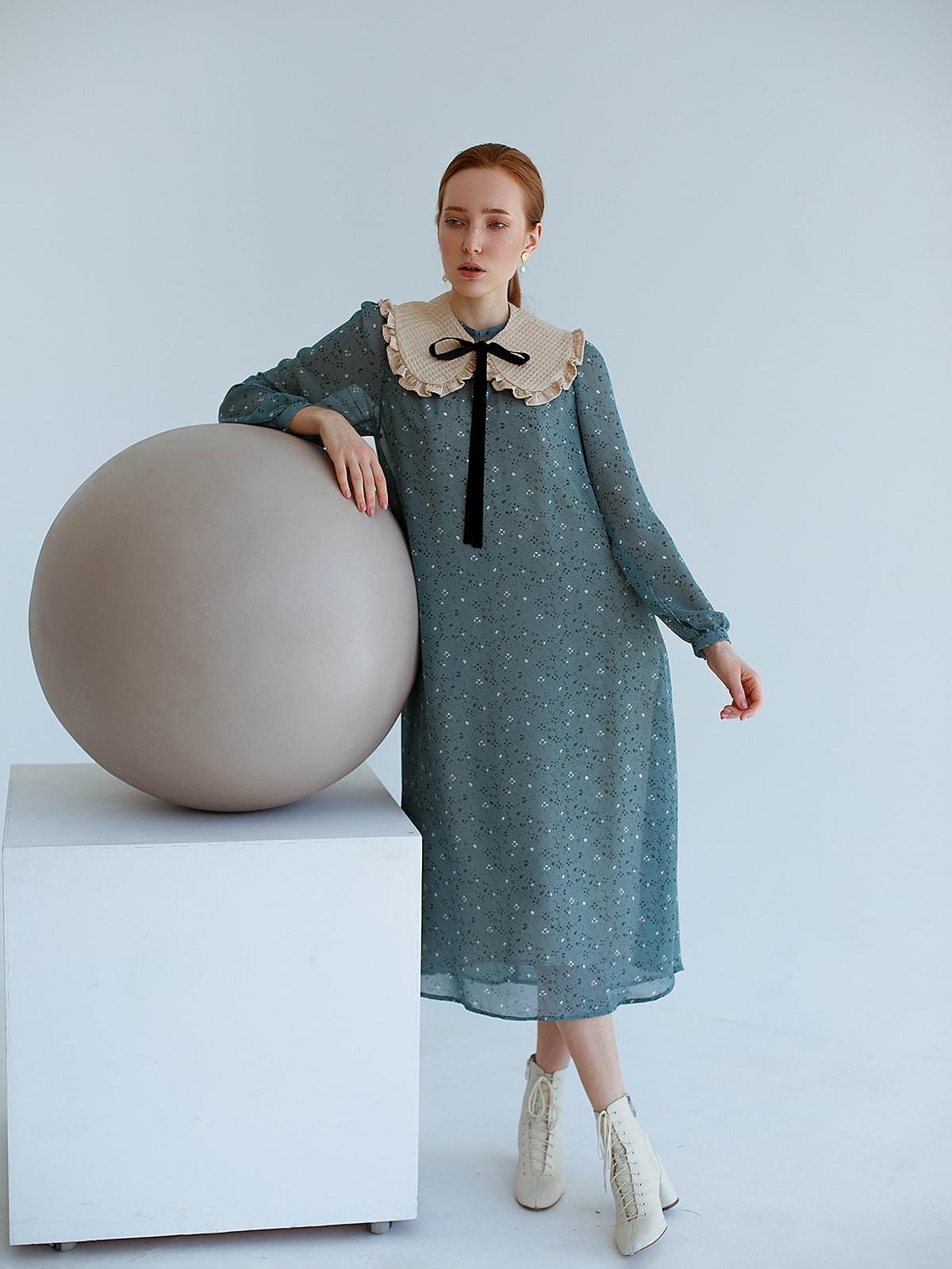 Платье голубое в принт   5705743