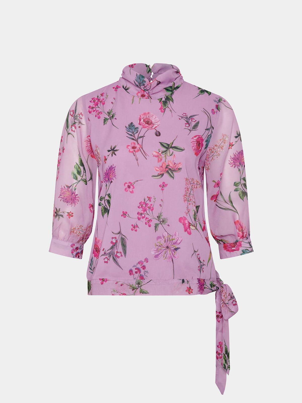 Блуза сиреневая в принт | 5707846