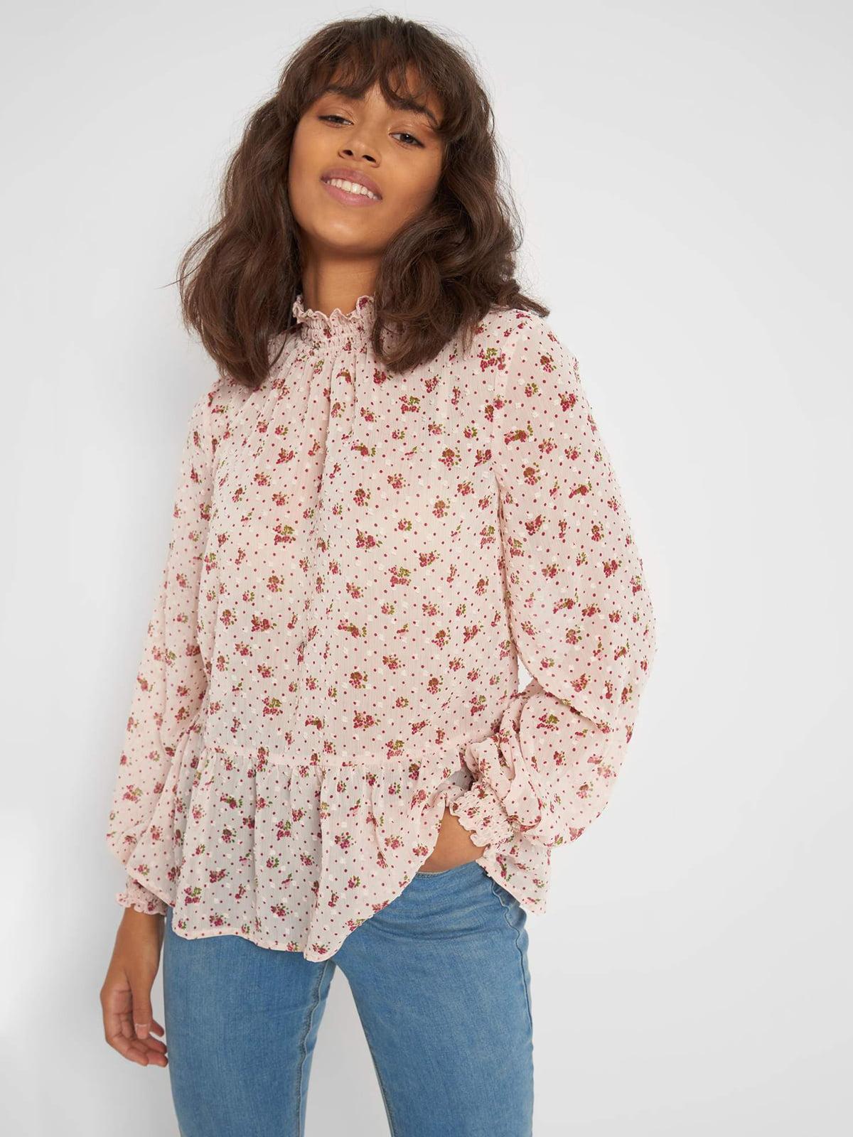 Блуза пудрового цвета в принт | 5707850