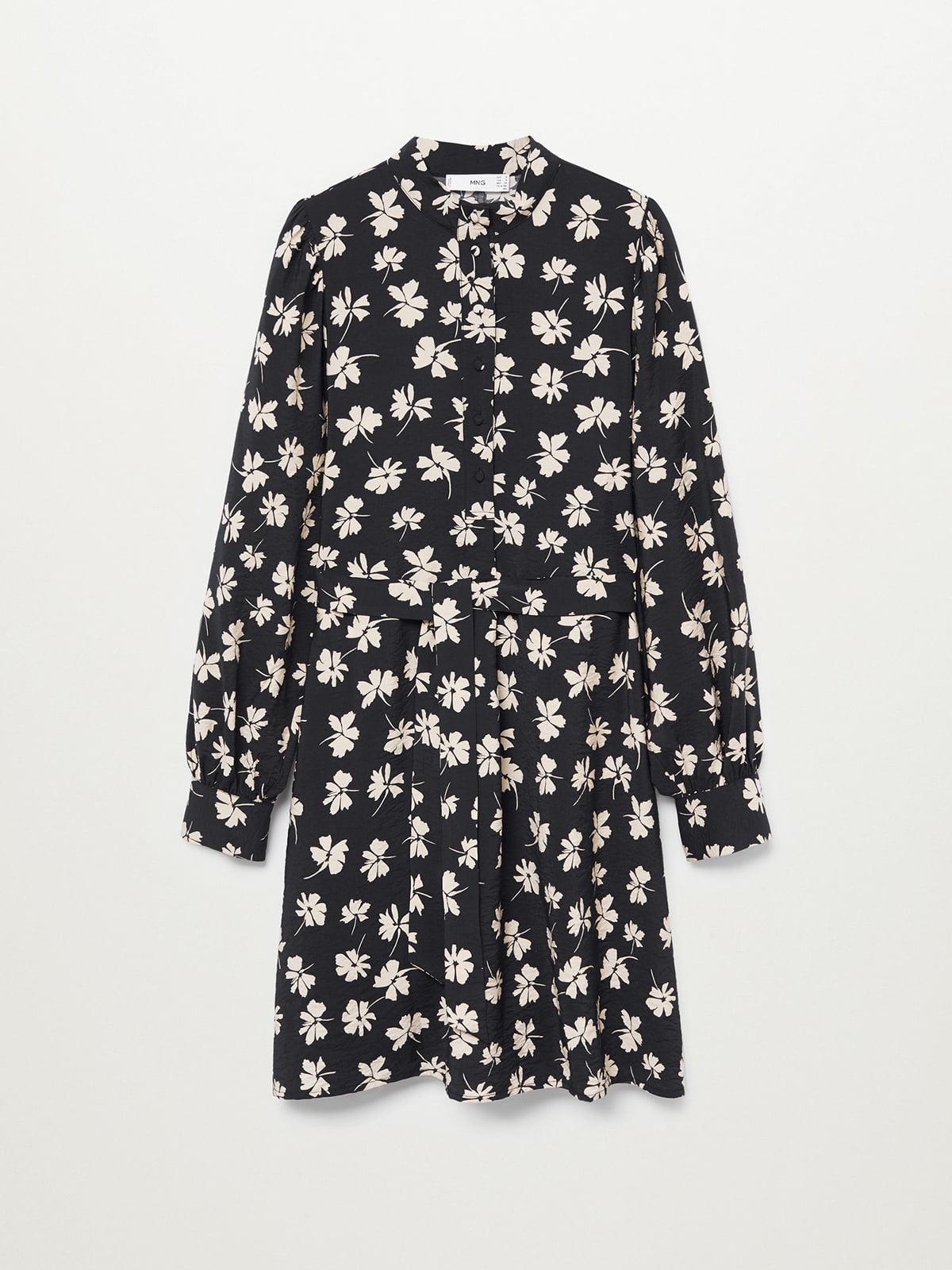Платье черное с цветочным принтом   5708075