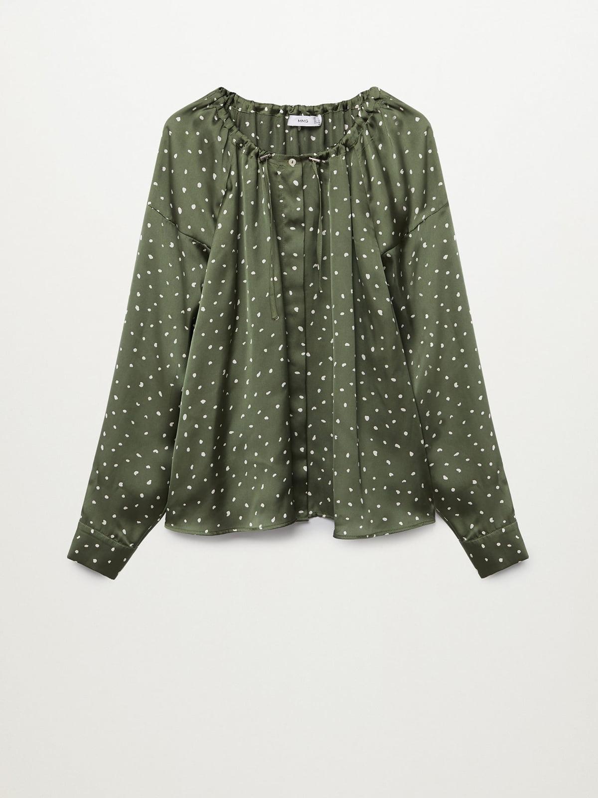 Рубашка оливкового цвета с принтом | 5708237