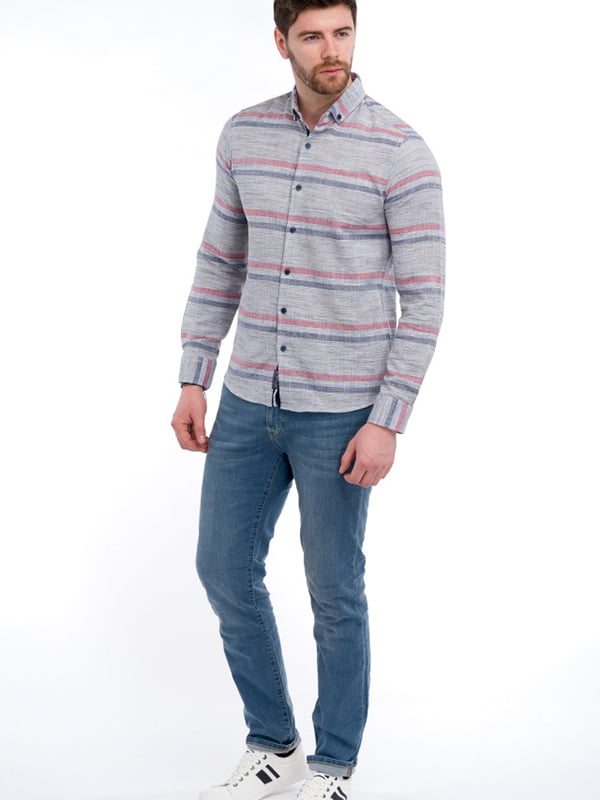Рубашка серая в полоску | 5710265