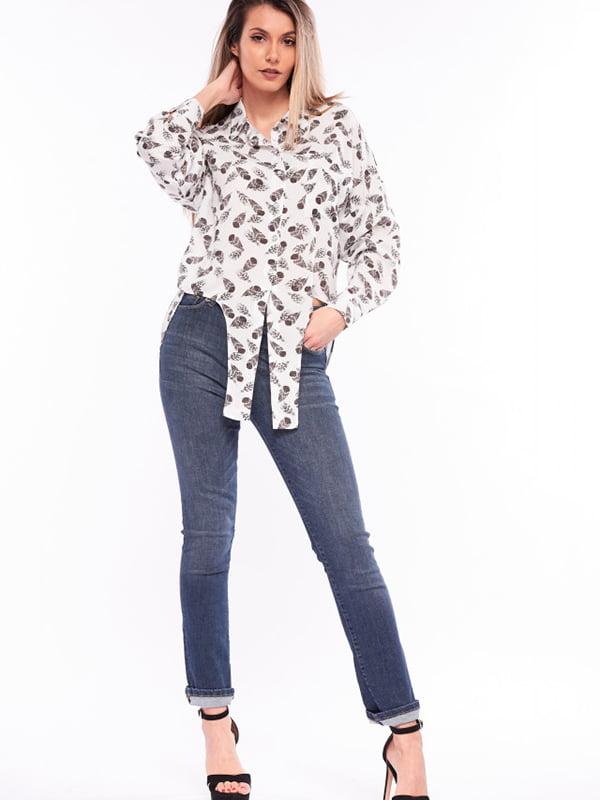 Рубашка белая с принтом | 5710254